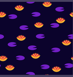vibrant lotus flowers seamless pattern vector image