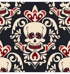 Victorian Gothic skull Damask Pattern vector