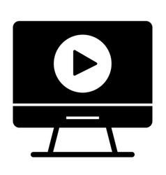 video player on monitor solid icon computer vector image