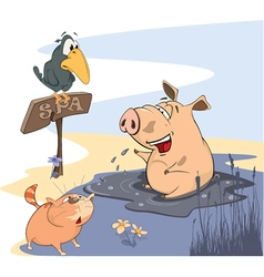 Washing up Pig with Crow and Cat vector image