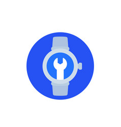 Watch repair icon flat vector