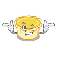 Wink egg tart character cartoon vector