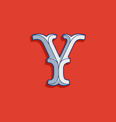 Y letter logo in classic sport team style vector