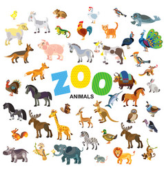 Zoo animals set vector