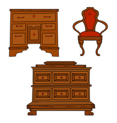 antiqu furniture set - antique bureau table vector image vector image