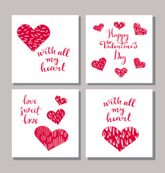 set of valentine cards vector image vector image