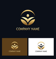 success people round gold logo vector image