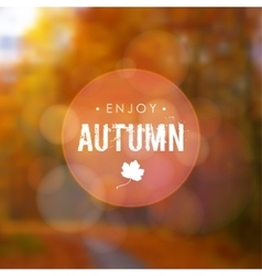 Autumn fall blurred background with maple leaf and vector