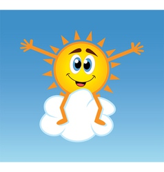 happy sun over a cloud vector image