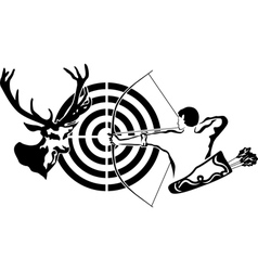 Hunting for deer archer and target deer vector