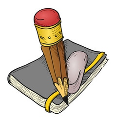Notebook Pencil and Eraser vector image vector image