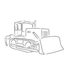 Outline of bulldozer vector image