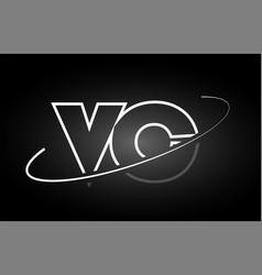 Vc v c letter alphabet logo black white icon vector