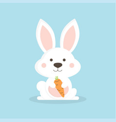white cute rabbit vector image vector image