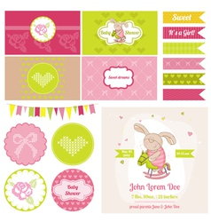 Baby Bunny on a Horse Theme vector image
