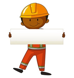 Engineer holding white board vector