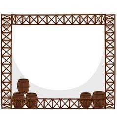 frame design with wooden barrels vector image