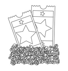 grayscale contour with popcorn and movie tickets vector image
