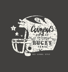 rugby helmet badge with shabby texture vector image vector image