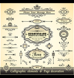Set calligraphy and pages decoration vector image