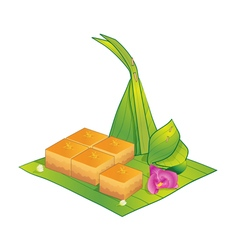 Thai dessert sweet custard vector