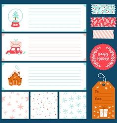 Winter holidays decorations collection vector image vector image