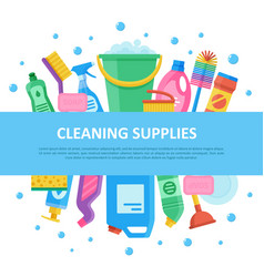 cleaning supplies set with central lettering vector image