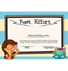 Diploma template with girl and board vector