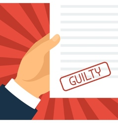 Guilty concept hand holding paper with stamp vector
