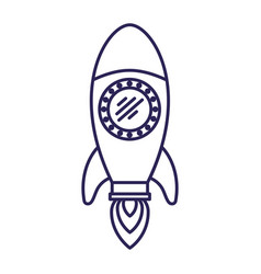 purple line contour of space rocket vector image vector image
