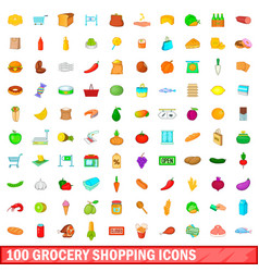 100 grocery shopping icons set cartoon style vector image