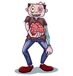 A zombie holding his brain vector image