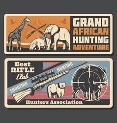 African safari animals hunting adventure poster vector