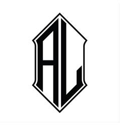 Al logo monogram with shieldshape and outline vector