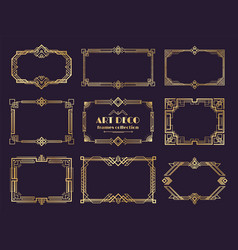 Art deco borders set golden 1920s frames nouveau vector
