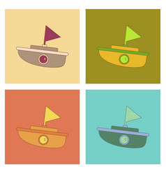 Assembly flat icons kids toy boat vector