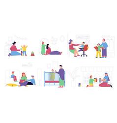 Babysitter situations flat set vector