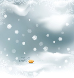 background with flying snow flakes vector image