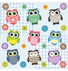 Background with nine textured owls vector image
