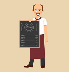 bald chef with mustache holding menu blackboard vector image