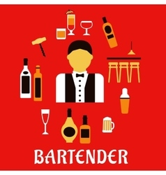 Bartender with cocktails Profession flat concept vector