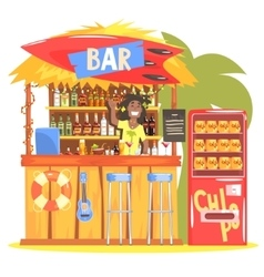 Beach Bar In Tropical Style Design With Smiling vector image