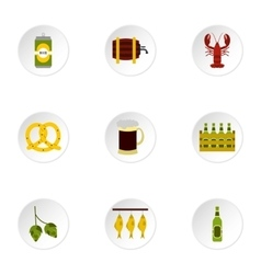 Beer festival icons set flat style vector