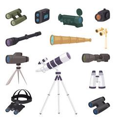 binoculars optical equipment spyglass vector image
