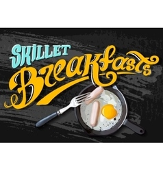 Breakfast Poster Fried eggs and sausage on pan vector