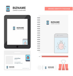 bug on a smartphone business logo tab app diary vector image
