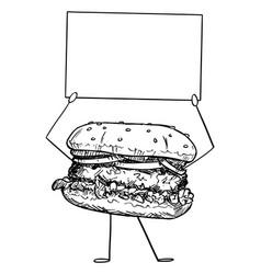 burger or hamburger cartoon character holding vector image