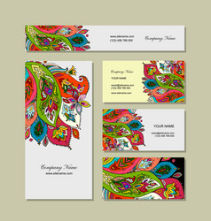 Business cards design floral background vector