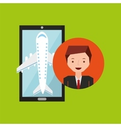 businessman hand holds mobile application travel vector image vector image