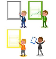 businessmen with folder set vector image